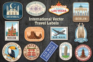 International Vector Travel Labels