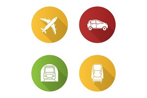Public transport flat design long shadow glyph icons set