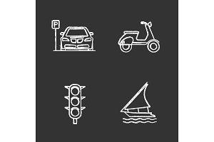 Public transport chalk icons set