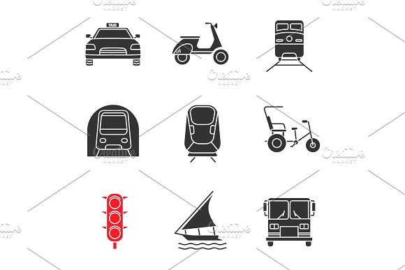Public Transport Glyph Icons Set