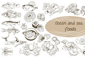 Doodle Ocean And Sea Food Set