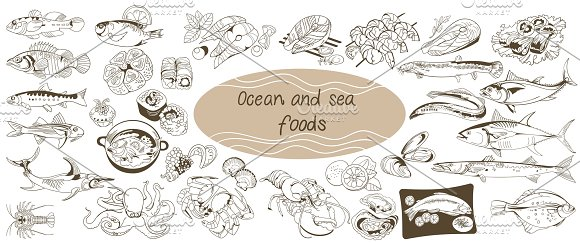 Doodle Ocean And Sea Food Set