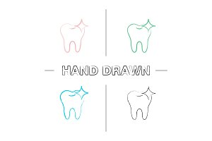Healthy shining tooth hand drawn icons set