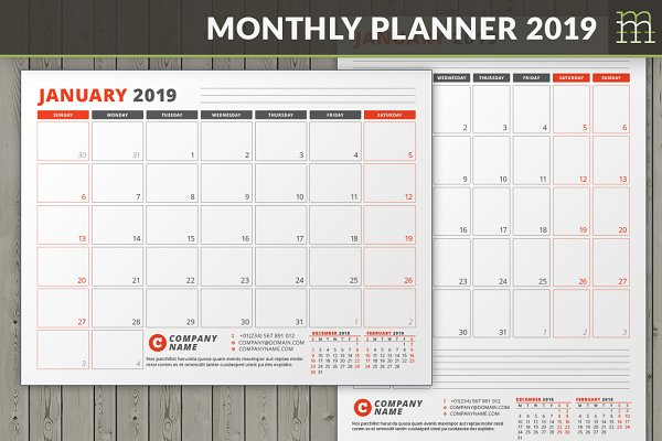 Monthly Planner 2019 (MP038-19)