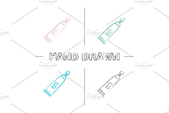 Toothpaste Hand Drawn Icons Set