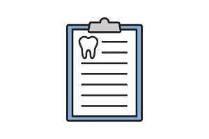 Teeth diagnostic report color icon