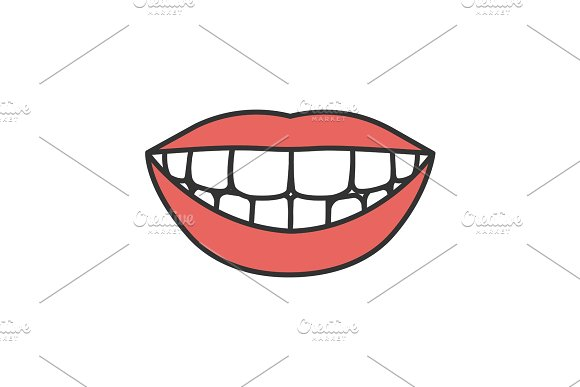 Beautiful Smile With Healthy Teeth Color Icon