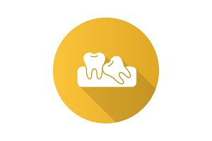 Crooked teeth flat design long shadow glyph icon