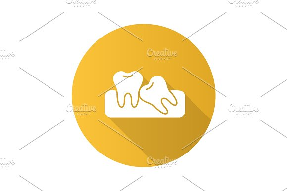Crooked Teeth Flat Design Long Shadow Glyph Icon