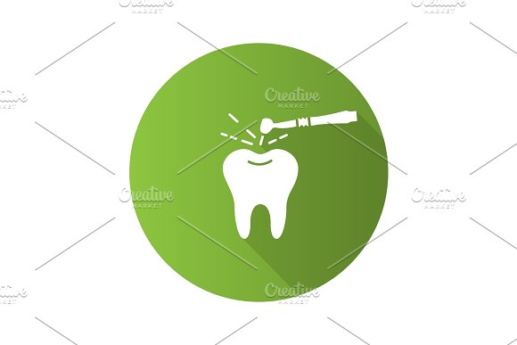 Tooth Drilling Process Flat Design Long Shadow Glyph Icon