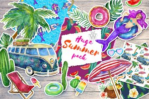 Huge Summer watercolor pack
