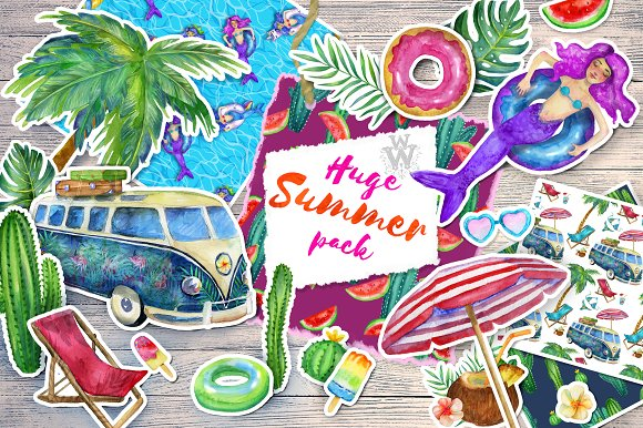 Huge Summer Watercolor Pack