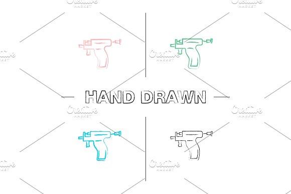 Piercing Gun Hand Drawn Icons Set
