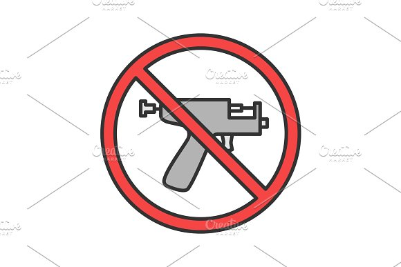 Forbidden Sign With Piercing Gun Color Icon