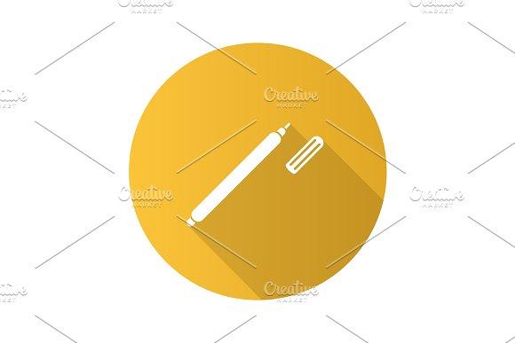Marker Pen Flat Design Long Shadow Glyph Icon