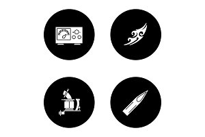 Tattoo studio glyph icons set
