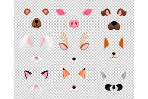 Animals face masks set on transparent