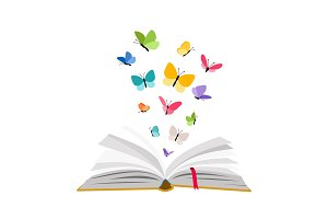 Open book with butterflies