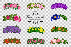 Flower wreaths set