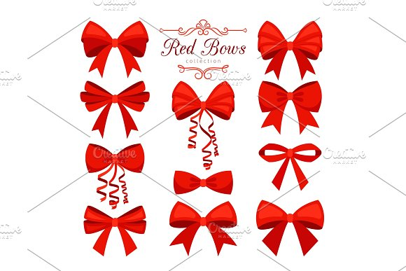 Cartoon Red Bow Set