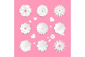 Paper cut flowers - set of modern vector colorful objects