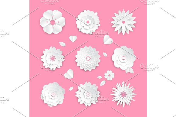 Paper Cut Flowers Set Of Modern Vector Colorful Objects