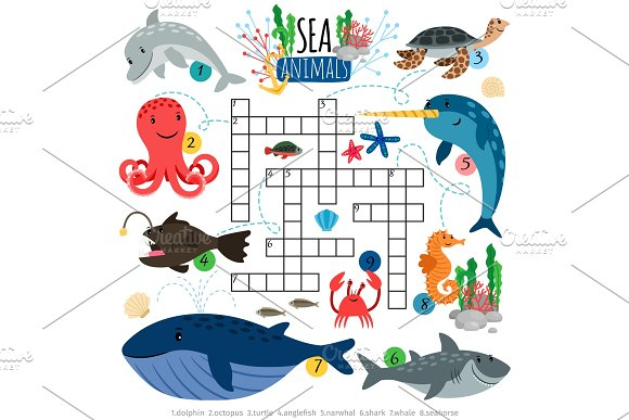 Ocean Animals Crosswords Game For Kids