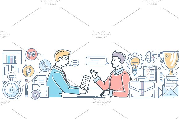 Business Meeting Modern Flat Design Style Colorful Illustration