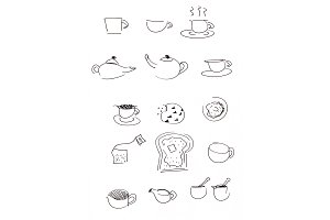 Coffee, Tea & Toast Illustration Set