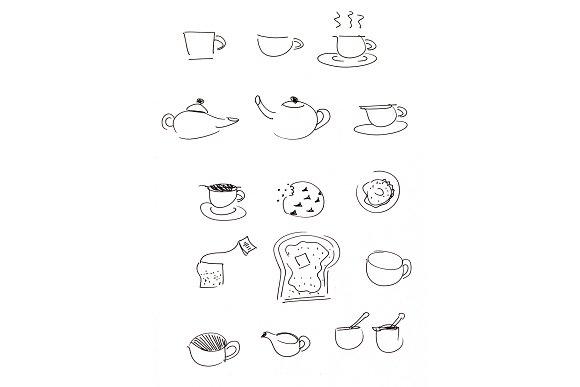 Coffee Tea Toast Illustration Set