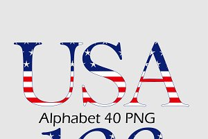 4th of July Alphabet Clipart