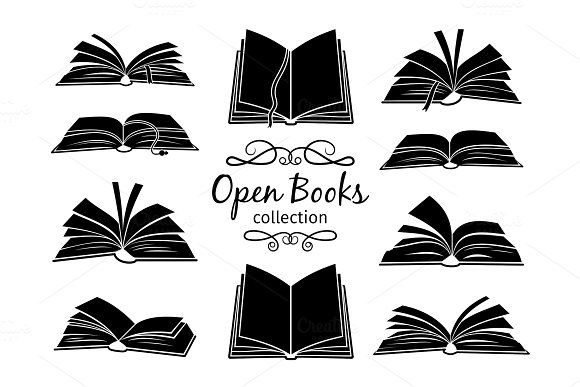 Open Books Black Silhouettes