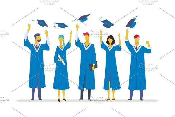 Happy Graduating Students Flat Design Style Colorful Illustration