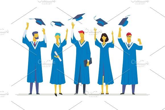 Happy Graduating Students Flat Design Style Colorful Illustration
