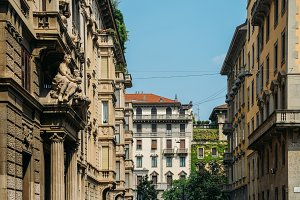 Traditional architecture in turn of the 20th century Art Nouveau style at Piazza Eleonora Duse in Milan's Porta Venezia district, Lombardy, Italy