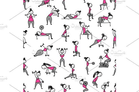 Girls Doing Sport Exercises Seamless Pattern For Your Design