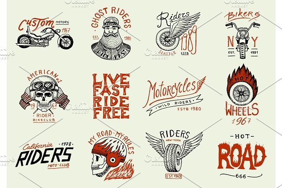 Motorcycles And Biker Club Templates Vintage Custom Skulls Emblems Labels Badges For T Shirt Monochrome Retro Style Classic Sport Motorbike With Racing Gasoline Hand Drawn Engraved Sketch