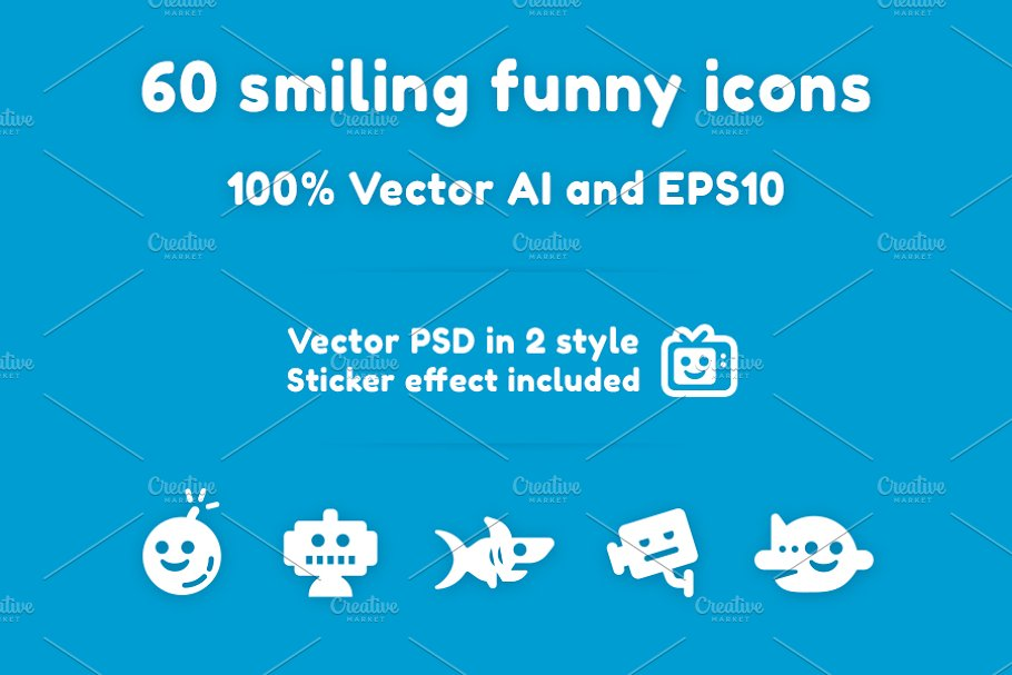 60 smiling funny icons/stickers