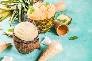 Various tropical ice cream sorbet