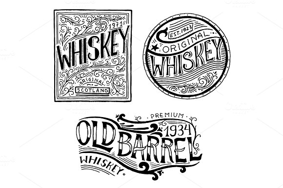 Vintage American Whiskey Badge Alcoholic Label With Calligraphic Elements Hand Drawn Engraved Sketch Lettering For T-shirt Classic Frame For Bottle Poster Banner Glass With Strong Drink