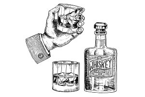 Vintage American whiskey badge. Alcoholic Label with calligraphic elements. Classic frame for poster banner. Glass with strong drink. Cheers toast. Hand drawn engraved sketch lettering for t-shirt.