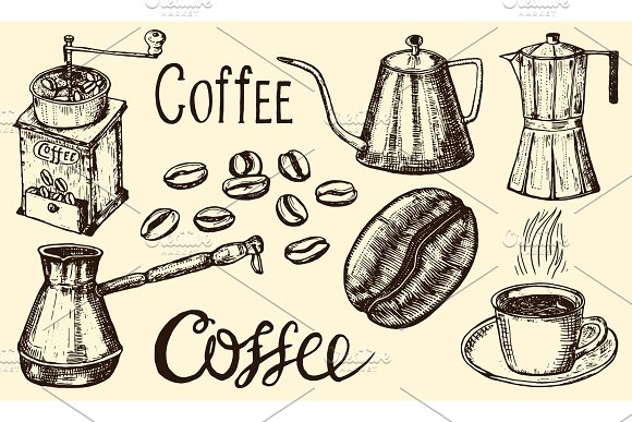 Traditional Filter Coffee Maker Modern Vintage Elements Percolator Plants Grain And Kettle For The Shop Menu Vector Illustration Engraved Hand Drawn In Old Sketch For Card Badges Labels
