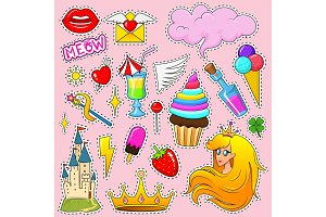 Set of girls fashion cute patches, fun stickers, badges and pins. Unicorn style. Collection different elements. Princess and, lips and rainbow and sweets. Vector trendy illustration.