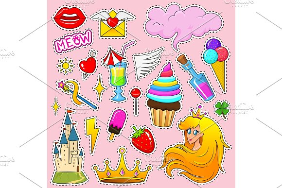 Set Of Girls Fashion Cute Patches Fun Stickers Badges And Pins Unicorn Style Collection Different Elements Princess And Lips And Rainbow And Sweets Vector Trendy Illustration