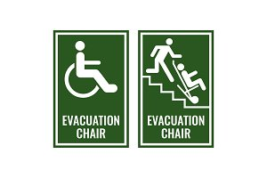 Evacuation chair green signboards for case of emergency