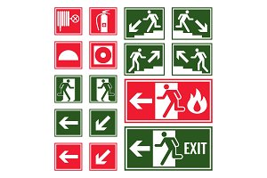 Evacuation and emergency signs in green and red colors