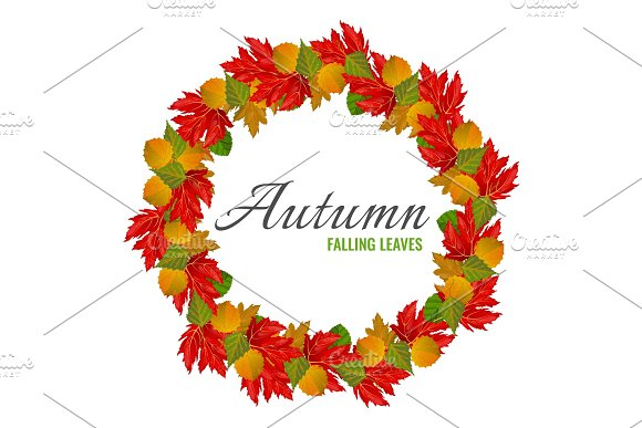 Autumn Falling Colorful Leaves In Big Circle Poster