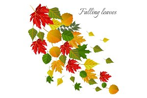 Falling leaves autumn seasonal postcard with foliage that falls down