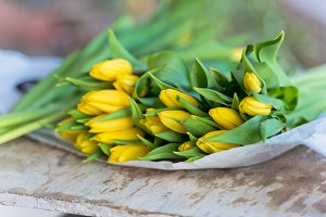 Yellow tulips flowers bouquet on a