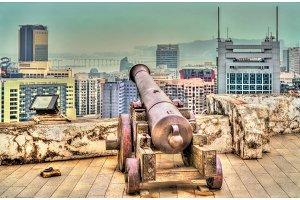 Old Portuguese cannon in Guia Fortress - Macau, China